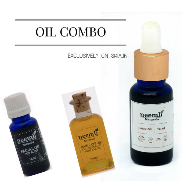 NEEMLI OIL COMBO- SUN BURN RELIEF WITH JOJOBA OIL SERUM- ANTI DANDRUFF HAIR OIL- AFTER SANITISING WITH ROSE HIP HAND OIL