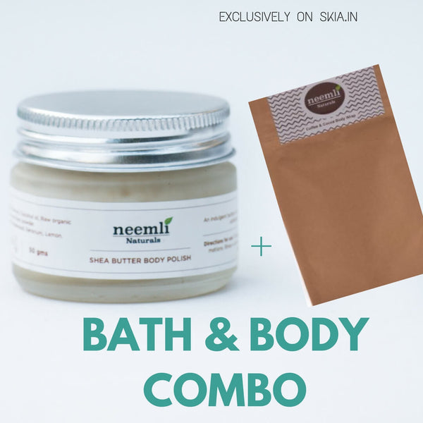 NEEMLI BATH & BODY COMBO- SHEA BUTTER BODY POLISH- COFFEE AND COCOA FACE MASK / BODYWRAP