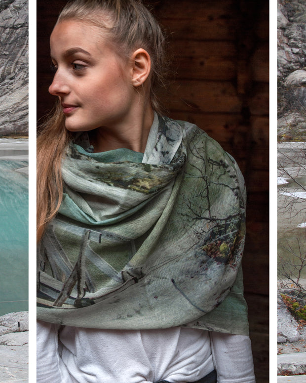 Glacier Wool and Silk Scarf