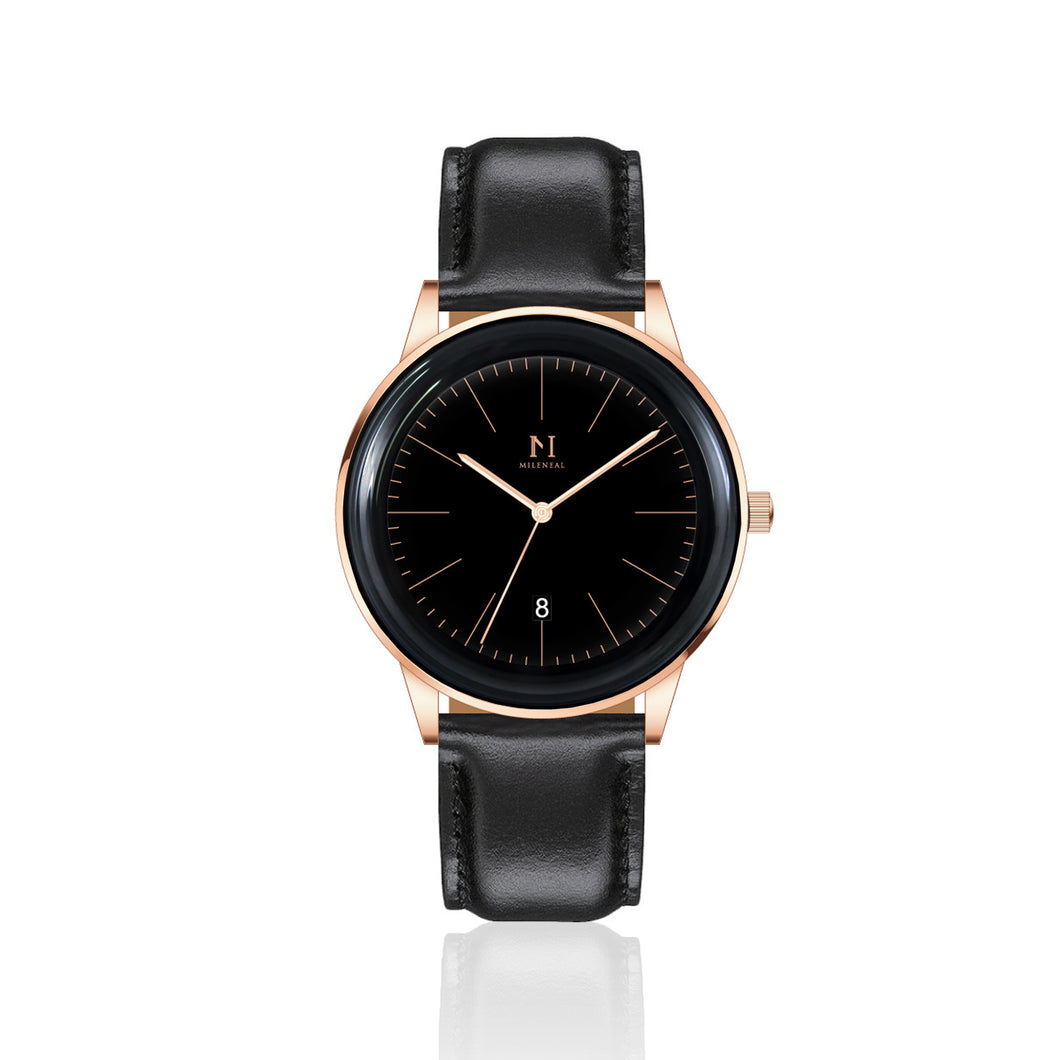Rose Gold Black | Black Leather