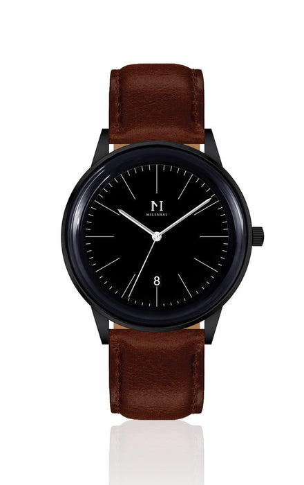 Matte Black | Tan Brown Leather