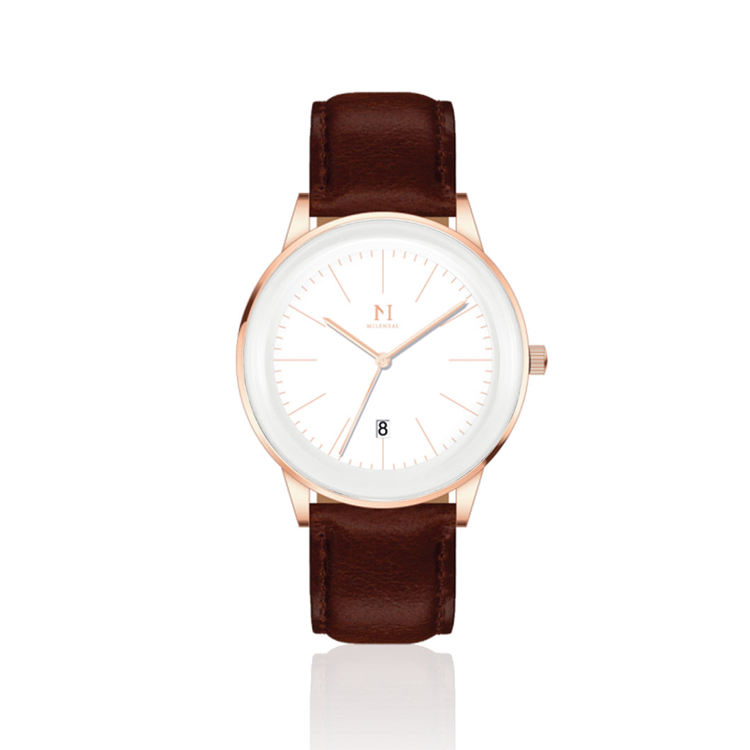 Rose Gold White | Tan Brown Leather