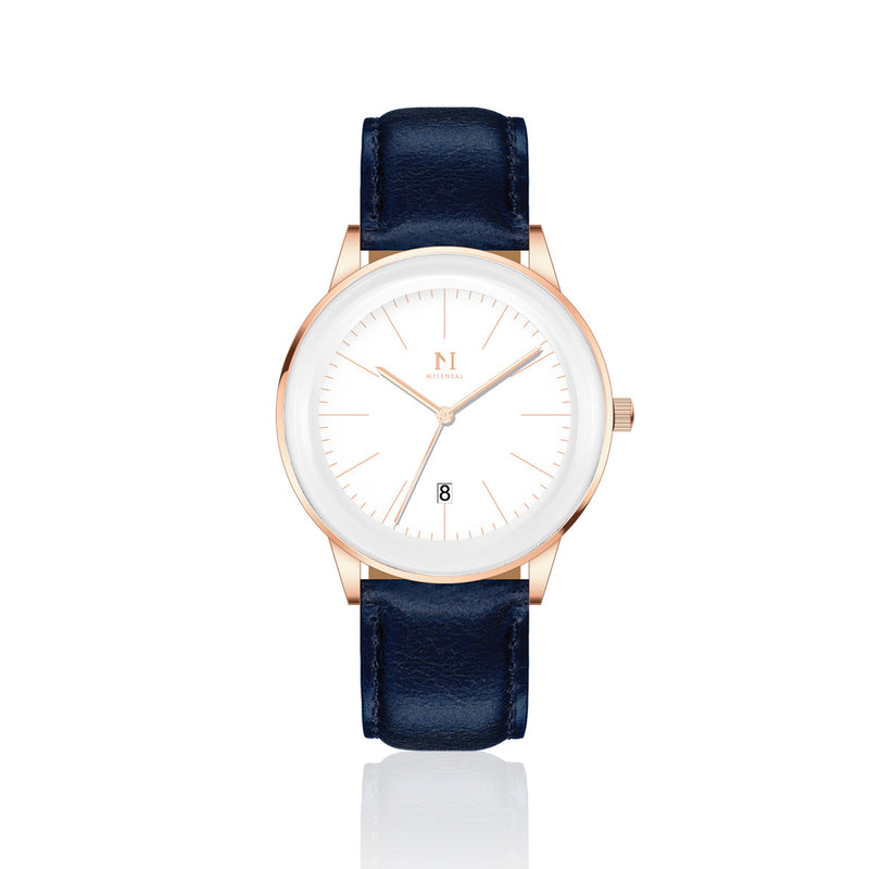 Rose Gold White | Vintage Blue Leather