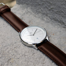 Silver White | Tan Brown Leather