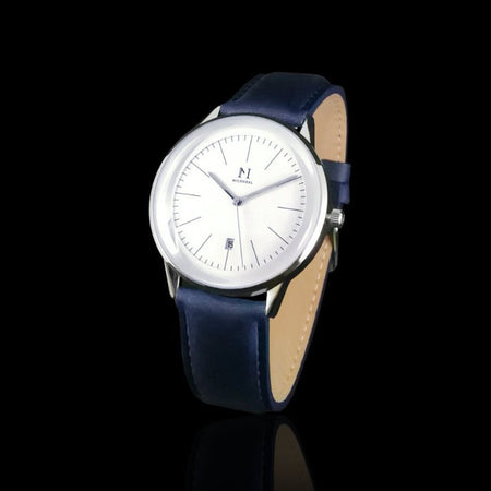 Silver White | Vintage Blue Leather