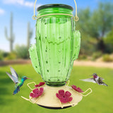 Cactus Top Fill Glass Hummingbird Feeder