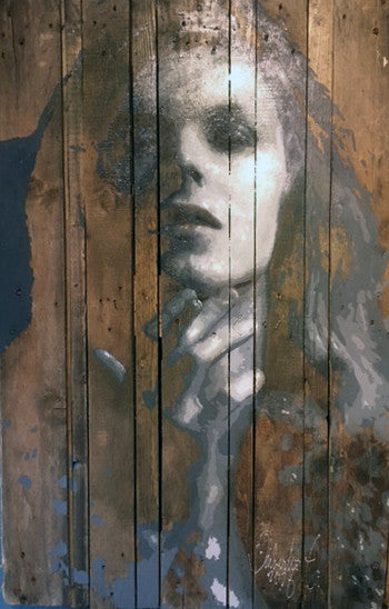 David Bowie on an antique wooden pallet