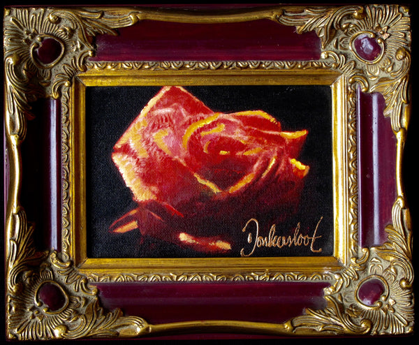 Red rose in red frame