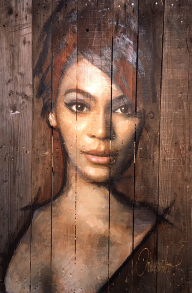 Beyoncé  portrait painting on wood by Peter Donkersloot