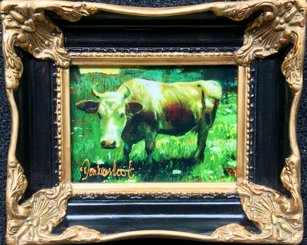 Cow in meadow baroque frame