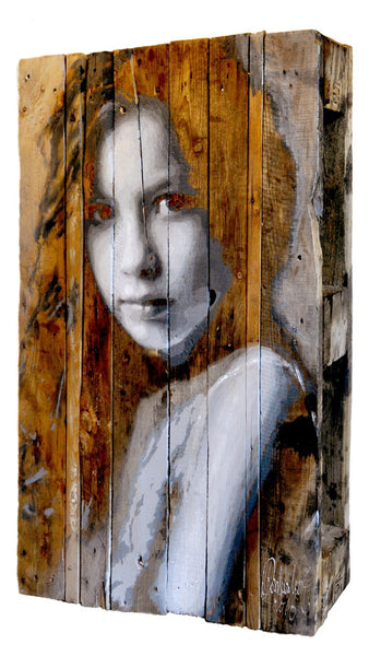 Commissioned children's portrait on an antique wooden pallet