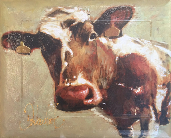 Cow on wooden panel