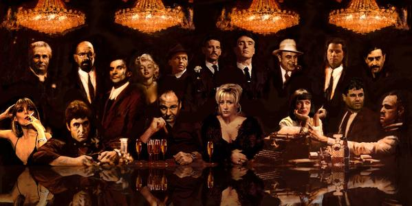 mafia at the table painting Peter Donkersloot