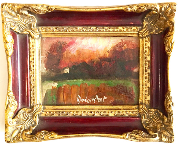 Landscape in burgundy frame