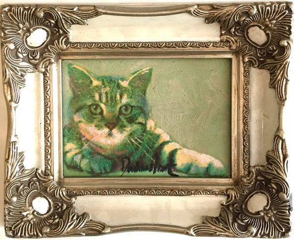 painting cat in baroque frame Peter Donkersloot