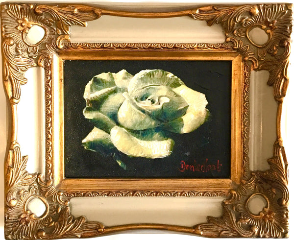 Rose in white frame