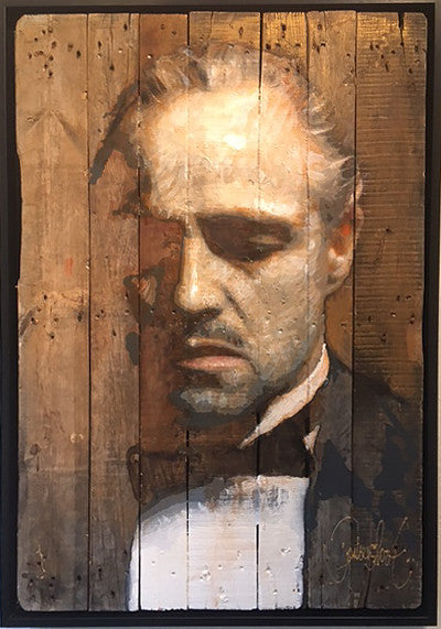 The Godfather on an antique wooden pallet