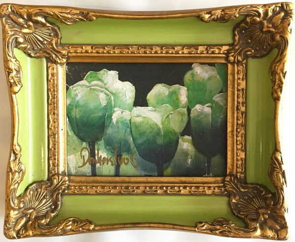Tulips in light green frame