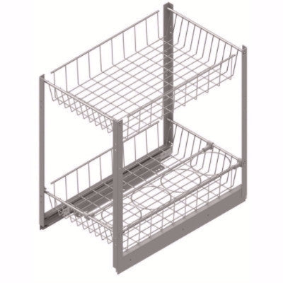 Pullout Wire Basket Organizer with Bottle Holder - 2 Baskets - CANMADE