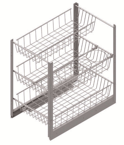 Pullout Wire Basket Organizer with Bottle Holder - 3 Baskets - CANMADE