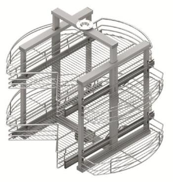 Turning basket with rails