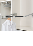 Starax pull and lift closet rod mechanism with handle to easily reach clothes in higher to reach places. Image shows the mechanism in the closet in the pulled down position.