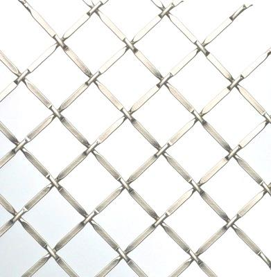 "Decorative wire mesh. Cross pattern with 3/4"" wide opening in satin nickel finish (silver colour)."