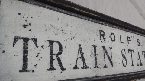 Train Station Sign closeup