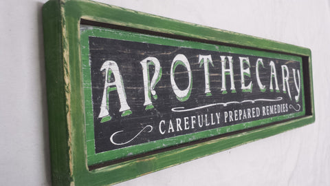 Green themed Apothecary Wood Sign