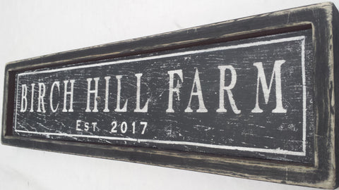 Side shot of Birch Hill Farm sign