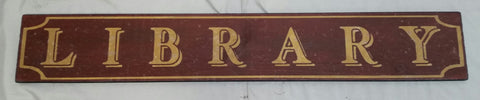 Red Library Sign
