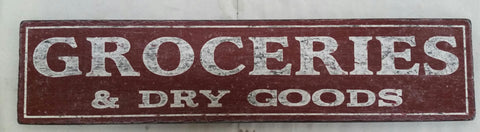 Red Groceries Dry goods sign
