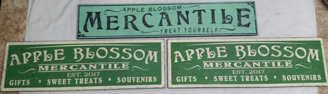 Apple Blossom Mercantile signs