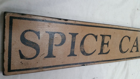 Spice Cabinet sign Close up