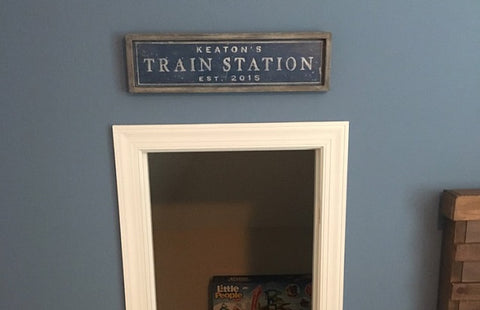 Customer's Train Station Sign