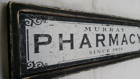 Framed Pharmacy Sign