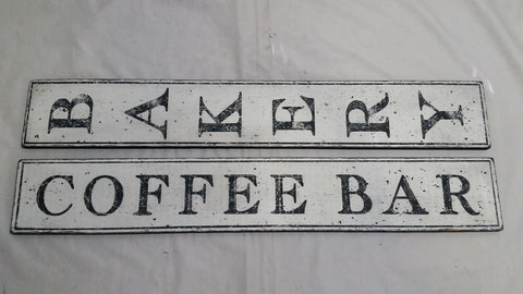 Bakery and Coffee Bar signs