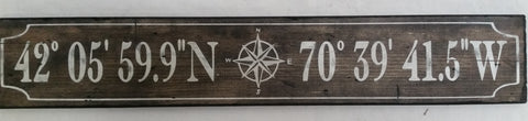 Natural stain sign with compass
