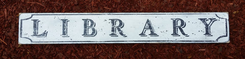 library wood sign treasure