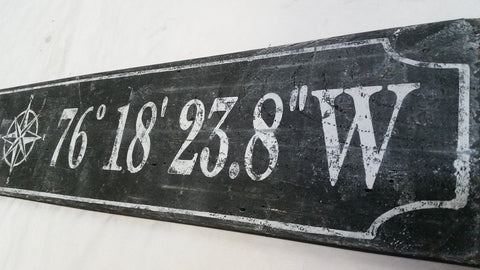 distressed black coordinate sign