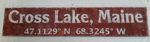 Cross Lake Maine Coordinate sign