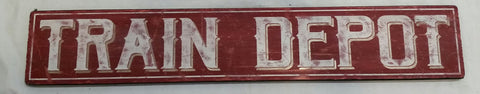 Red Train Depot Sign
