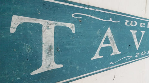 Tavern wood sign in Teal
