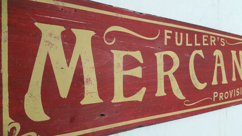 Mercantile sign in red
