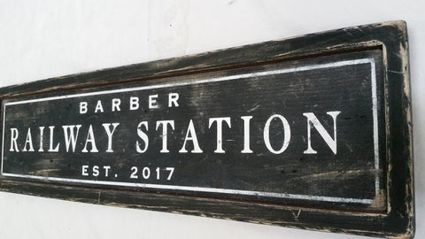 Barber's Railway Station Sign
