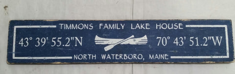 Coordinate sign with canoe image