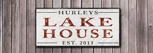 Personalized Lake House Wood Sign - Vintage Style Decor
