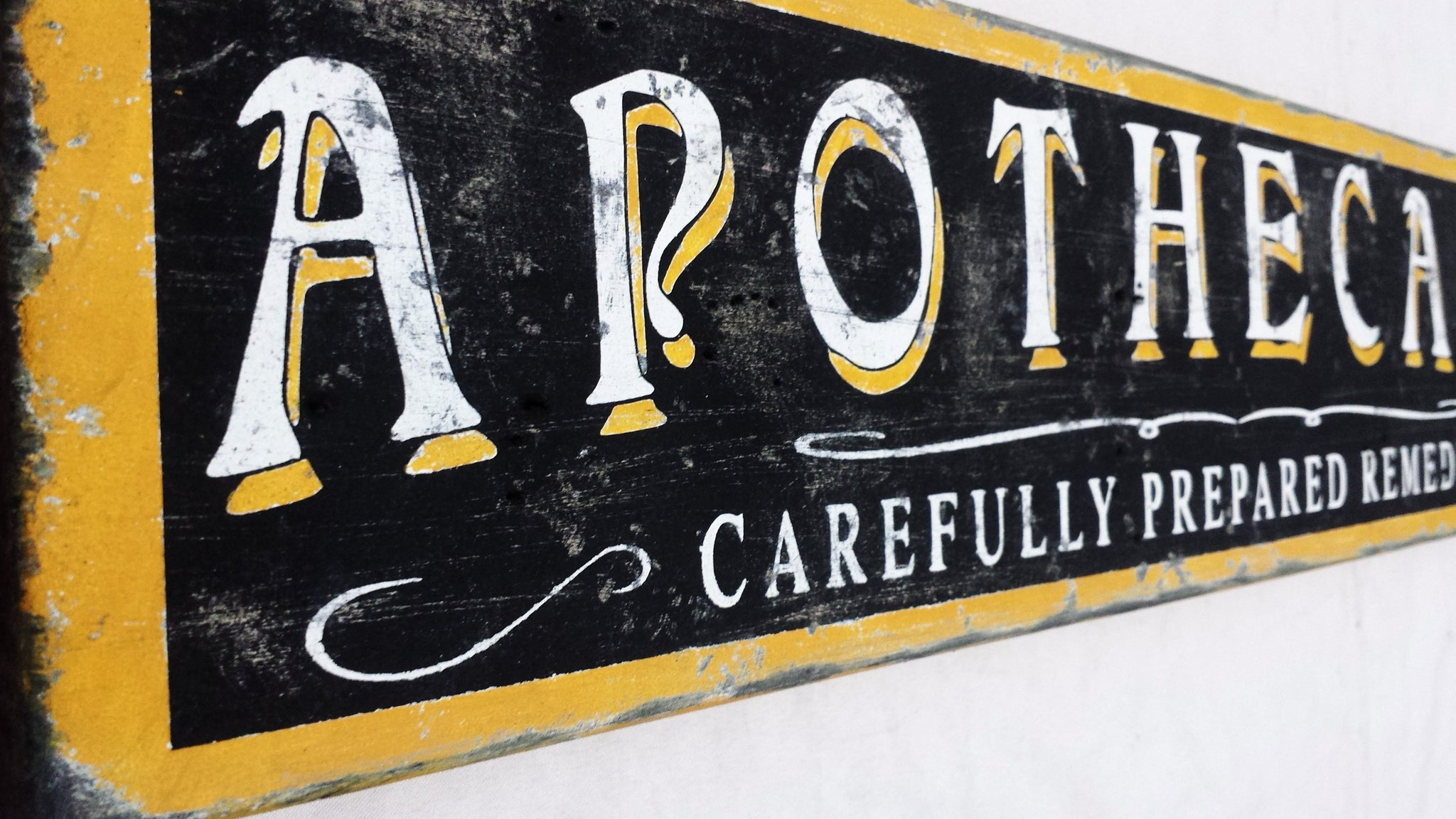 Apothecary remedies sign close up