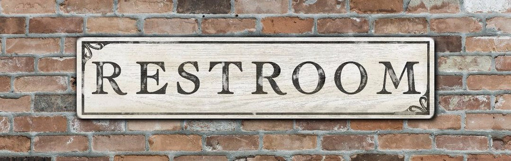 Restroom Wood Sign - Antique Style Decor