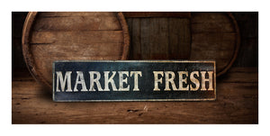 Market Fresh Wood Sign - Vintage Style Decor
